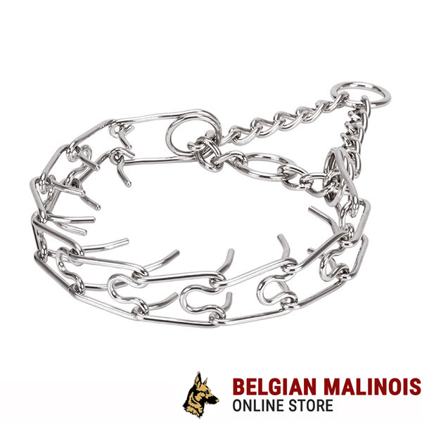 Reliable stainless steel dog prong collar for large pets
