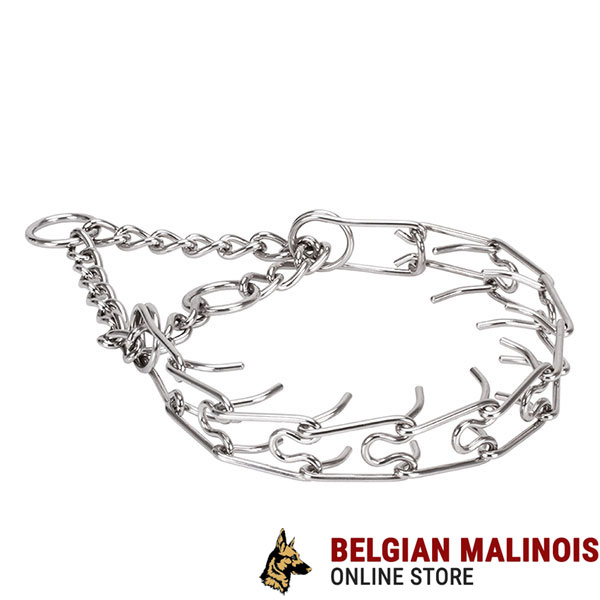 Corrosion resistant stainless steel prong collar for aggressive dogs
