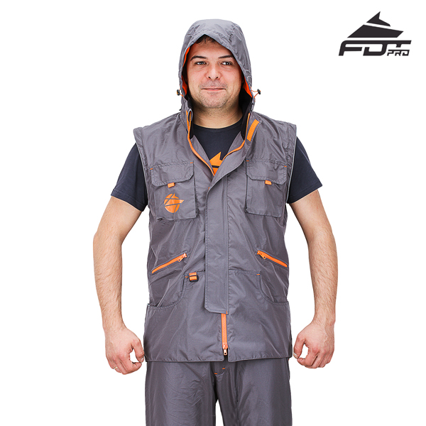 Dog Trainer Jacket Grey Color FDT Pro Design with Hood