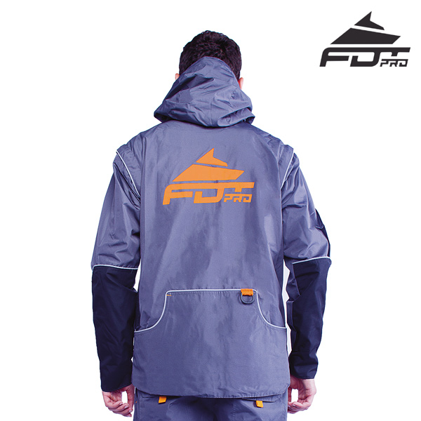 FDT Pro Dog Training Jacket of Grey Color with Comfy Side Pockets