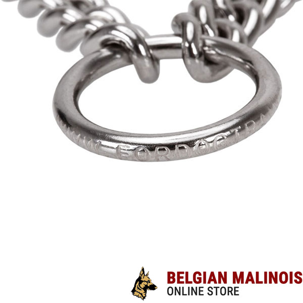 Reliable stainless steel O-ring on prong collar
