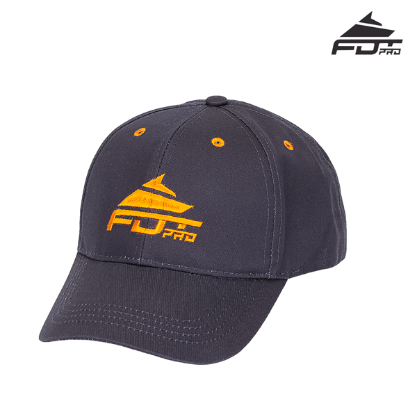 One-size Dark Grey Color Cap with Orange Logo for Dog Trainers