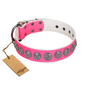 """Pink Garden"" Designer FDT Artisan Pink Leather Belgian Malinois Collar for Stylish Look"