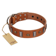 """Golden Crossbones"" Handmade FDT Artisan Tan Leather Belgian Malinois Collar with Plates and Skulls"