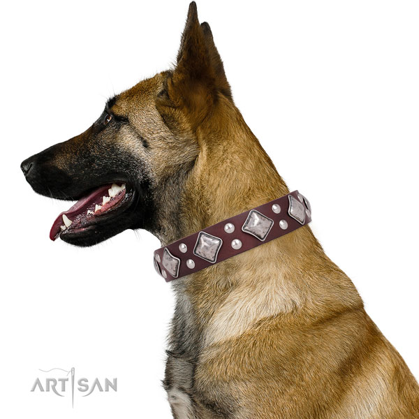 Easy wearing adorned dog collar made of quality genuine leather