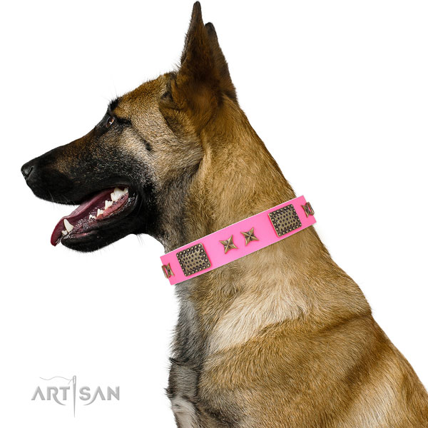 Trendy decorations on walking natural genuine leather dog collar