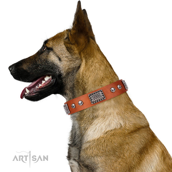 Stylish natural genuine leather collar for your stylish pet