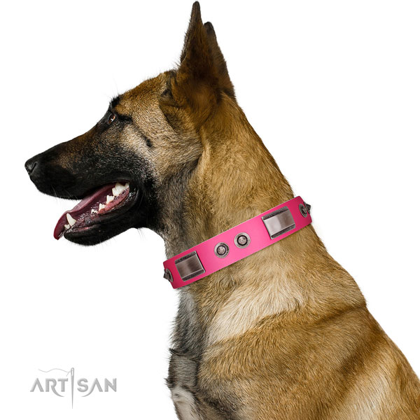 Trendy full grain genuine leather dog collar with studs