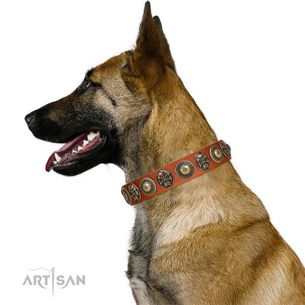 Stylish natural leather collar for your stylish pet