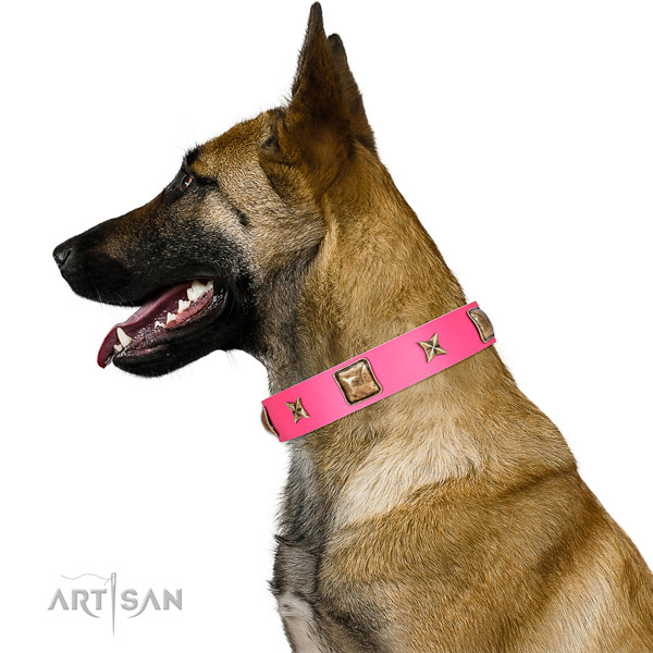 Full grain genuine leather dog collar of flexible material with top notch adornments