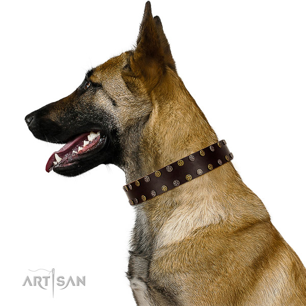 Comfortable wearing full grain genuine leather dog collar with decorations