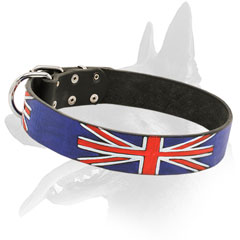Leather Belgian Malinois Collar with Union Jack Painting