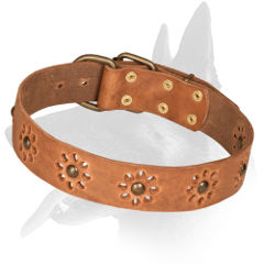Belgian Malinois Leather Collar With Unique Flower Design
