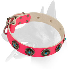 Hand-set circles on Belgian Malinois Pink Leather Dog Collar