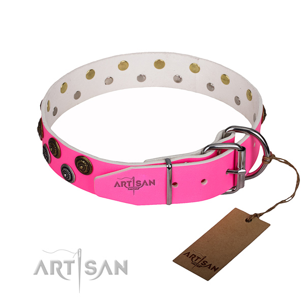 Handy use natural genuine leather collar with adornments for your pet