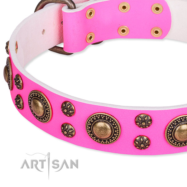 Natural genuine leather dog collar with trendy decorations