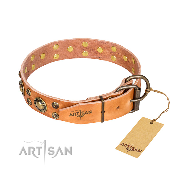 Handy use full grain genuine leather collar with studs for your pet