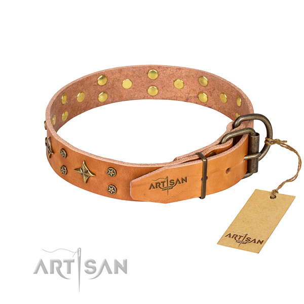 Everyday use natural genuine leather collar with studs for your doggie