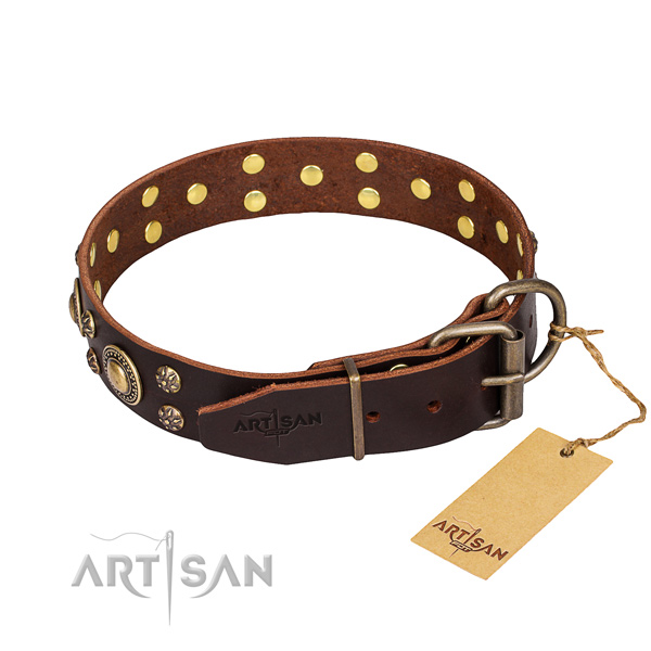 Everyday walking natural genuine leather collar with adornments for your four-legged friend
