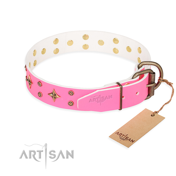 Daily use full grain natural leather collar with decorations for your four-legged friend