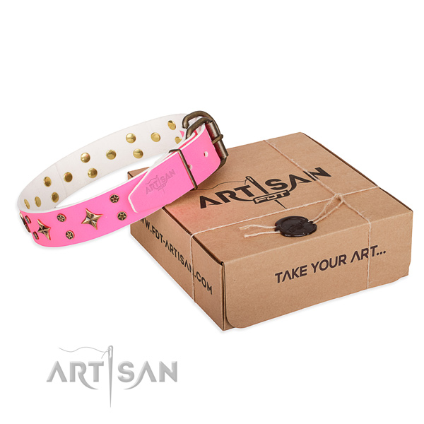 Embellished full grain genuine leather dog collar for everyday use