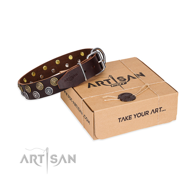 Natural genuine leather dog collar with decorations for everyday use
