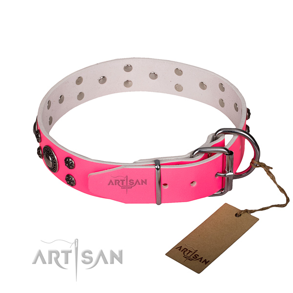Handy use full grain natural leather collar with reliable buckle and D-ring