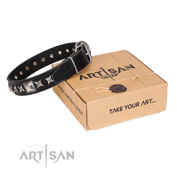 Decorated natural genuine leather dog collar for daily walking