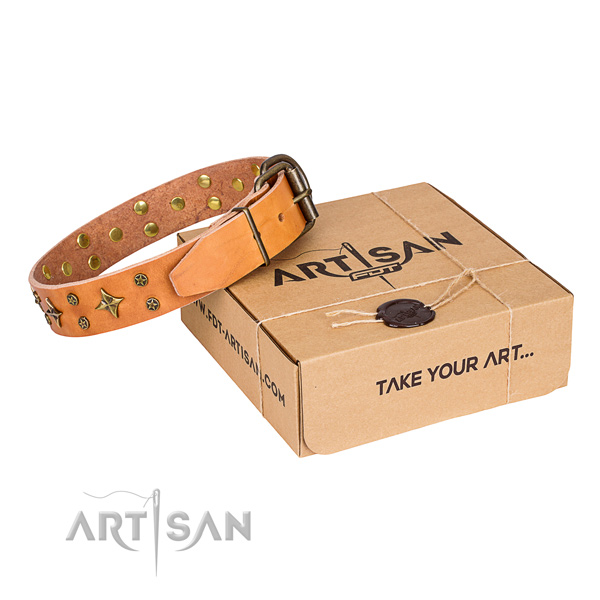 Decorated natural genuine leather dog collar for handy use