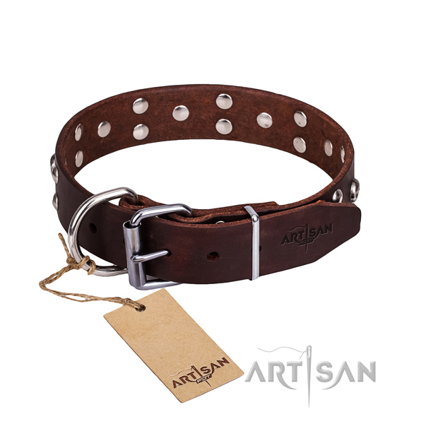 Leather dog collar with rounded edges for convenient daily use