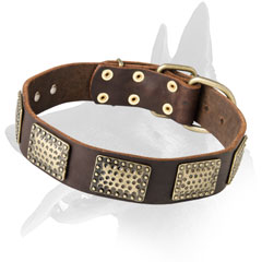 Briilant Malinois Leather Collar with Metal Decorations
