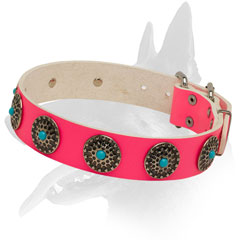 Leather dog collar pink color
