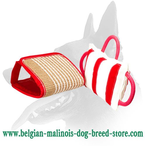 Belgian Malinois Bite Pillow with 3 handles and Jute Cover