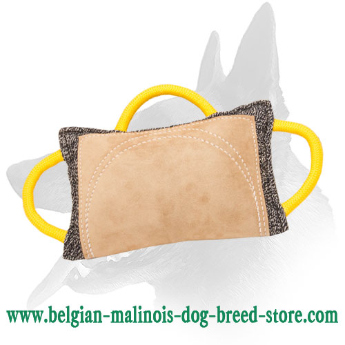 Belgian Malinois French Linen Pad with Leather Area