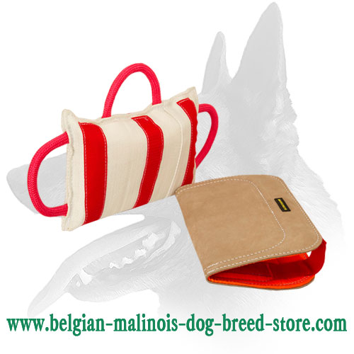 Reliable Belgian Malinois Stitched Bite Pillow with Leather Cover