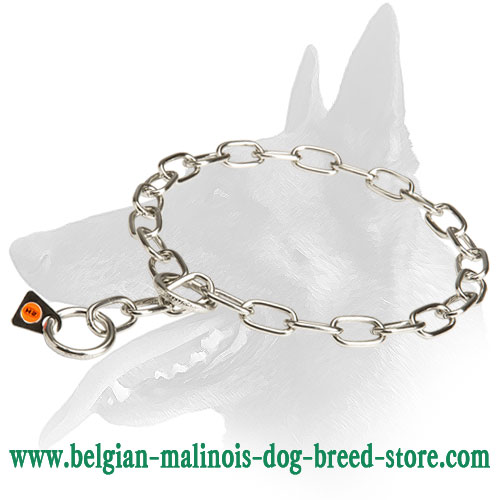 Belgian Malinois Fur Saver Choke Chain Dog Collar