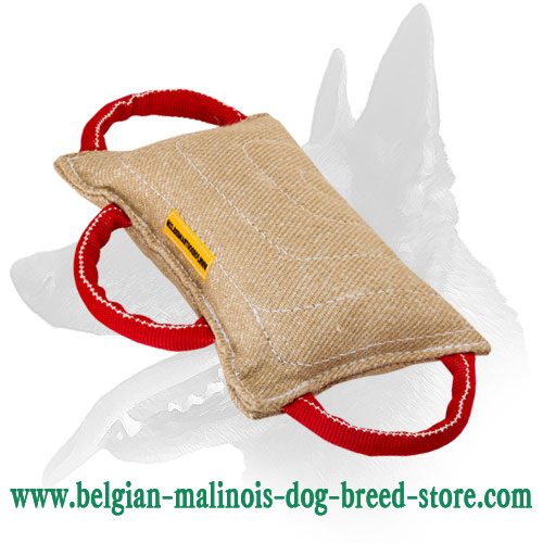 Belgian Malinois Bite Pad Made of Jute with 3 Handles