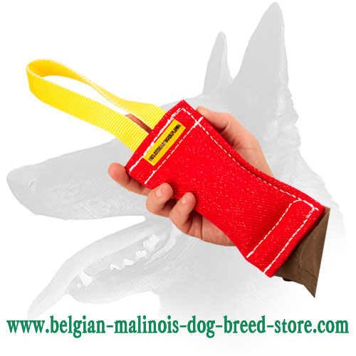 Belgian Malinois French Linen bite tug - 2 1/3 inch x 8 inch (6cm x 20 cm) with handle