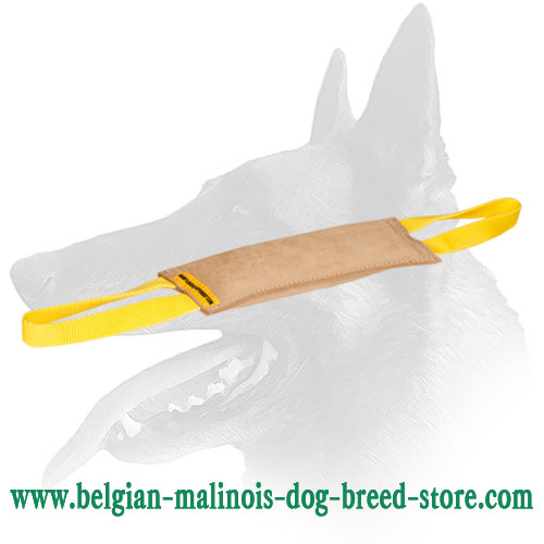 'Quick grip' Belgian Malinois Leather Bite Tug with 2 Handles