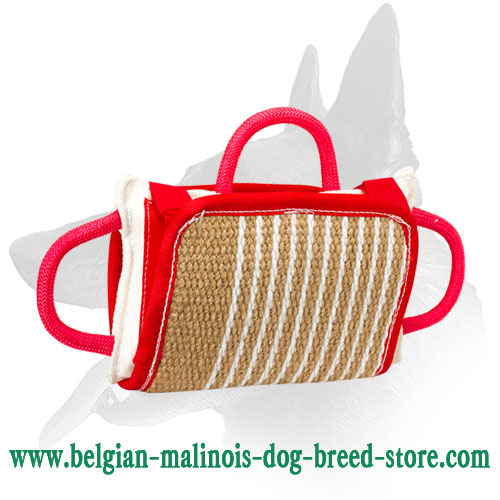 """Biting-Jaws"" Training Belgian Malinois Pillow with Jute Cover"