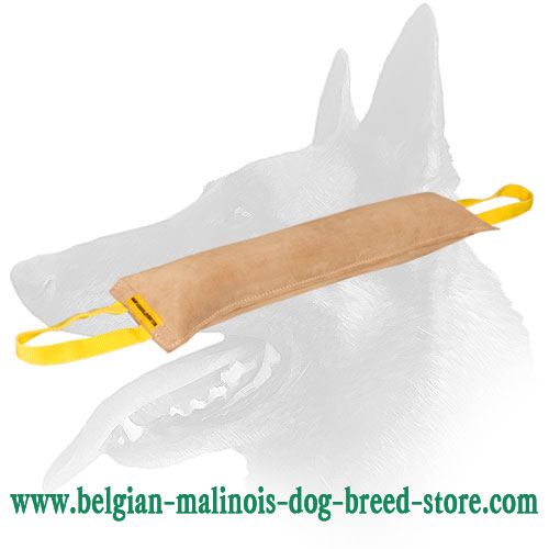 Belgian Malinois Leather Huge Bite Tug with 2 Handles for Dog Training