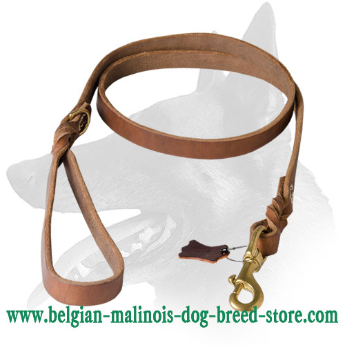 Stylish and Super Strong Belgian Malinois Leather Leash