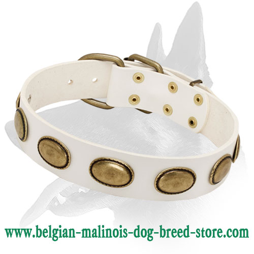 'Vintage Gem' Belgian Malinois White Leather Dog Collar for Walking in Style
