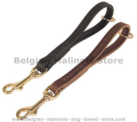 Leather Snap Tab 10 inch LEASH for Belgian Malinois