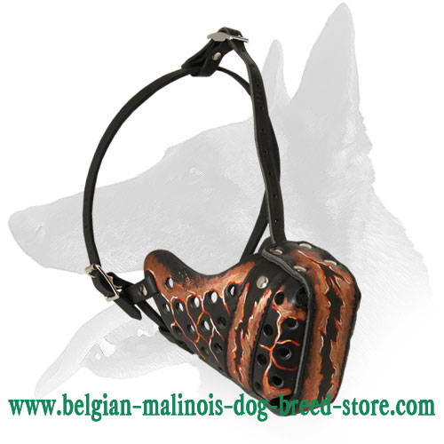 'Royal Look' Unique Belgian Malinois 'Magma' Painted Leather Muzzle