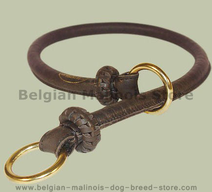 Round Leather Slip Collar-Rolled Choke Collar for Belgian Malinois
