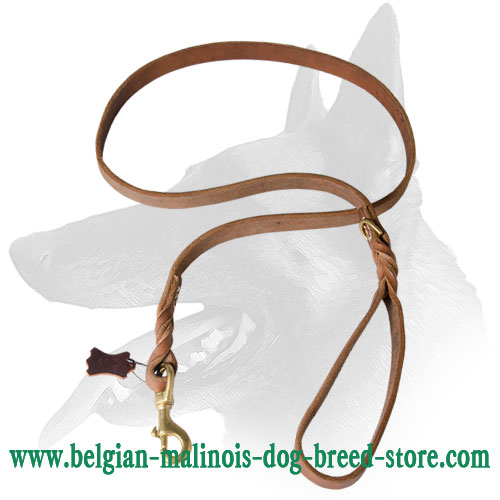 Stitched Belgian Malinois Leather Leash