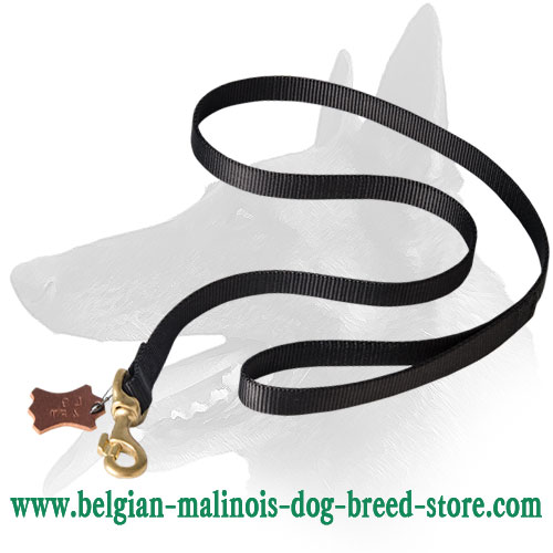 Brass Snap Hook with Handle of Belgian Malinois Nylon Leash
