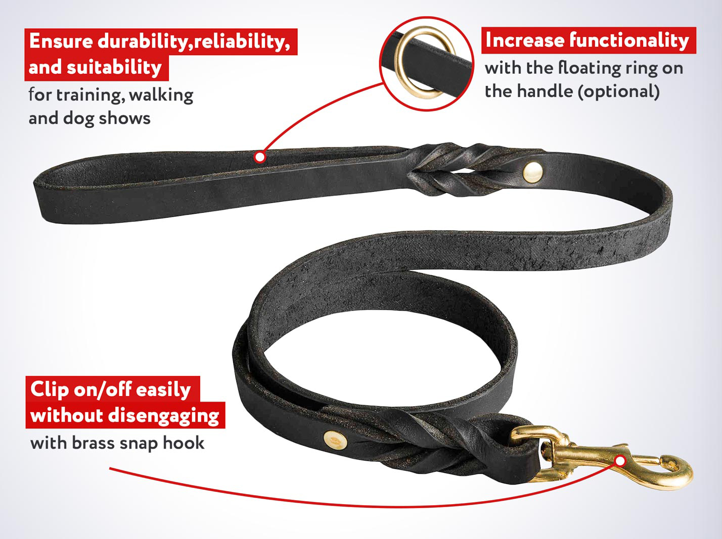 Handcrafted Leather Dog Leash for Belgian Malinois Walking