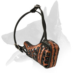 Leather Belgian Malinois Muzzle Hand-Painted